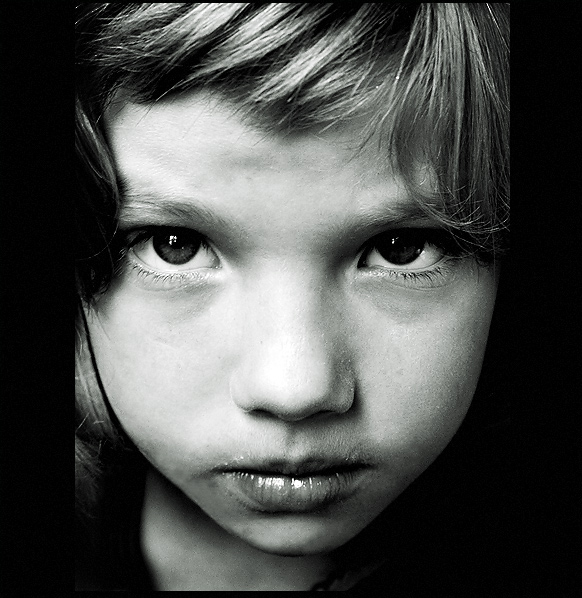 Serious | black and white, child