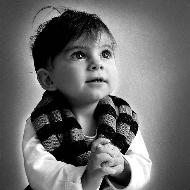 About the eyes of an angel | black and white, child, scarf