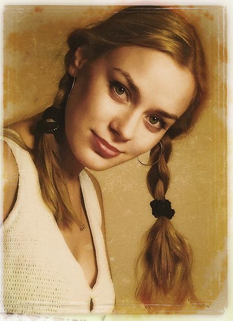 Postcard   woman, braids