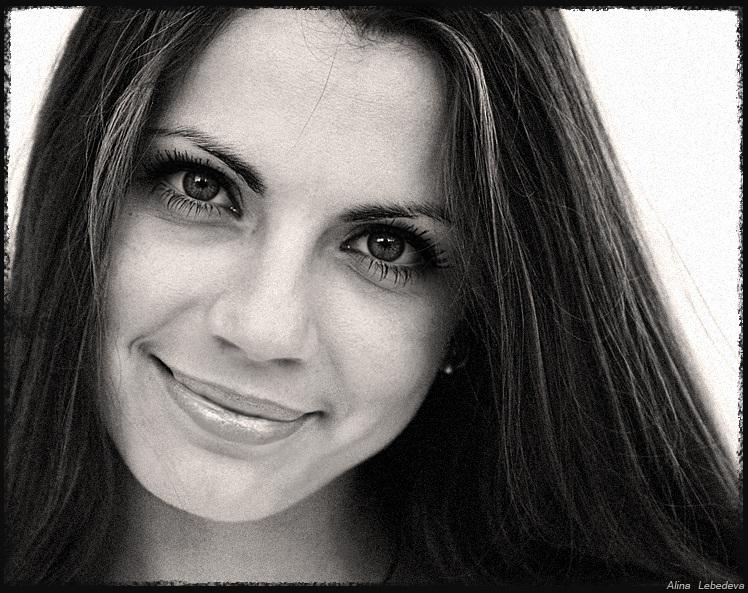 Olesya | woman, black and white, brunette, emotion