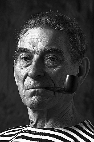 Retired serviceman | black and white, male, pipe