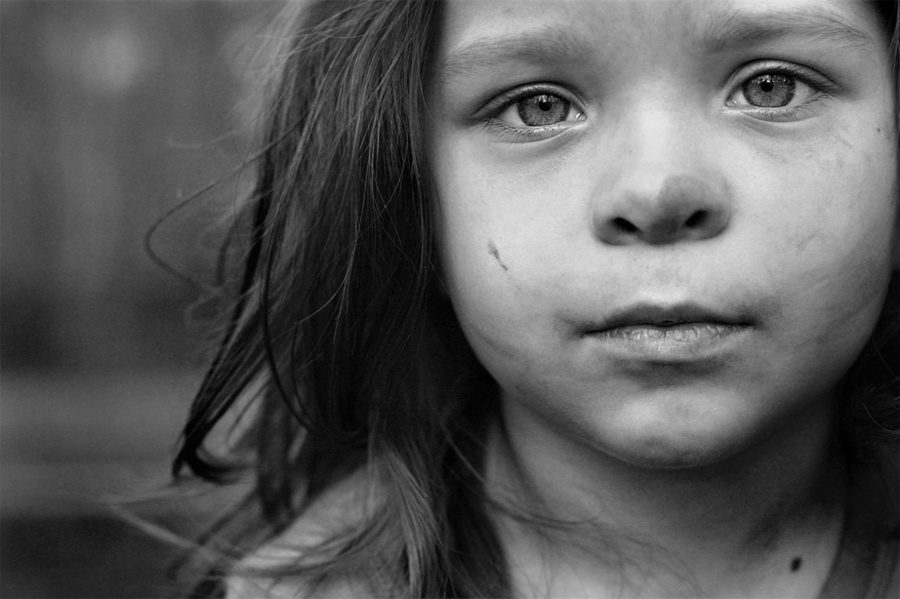 Portrait of a girl | black and white, nature, child