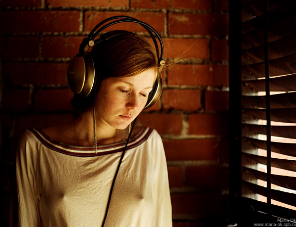 And I need nothing more | woman, emotion, freckles, headphones