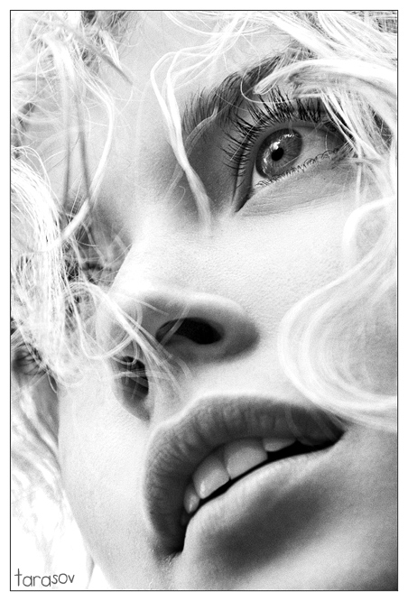 Curls   woman, black and white, blonde, curls