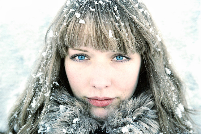 Blue ice | woman, high key, fur, snow