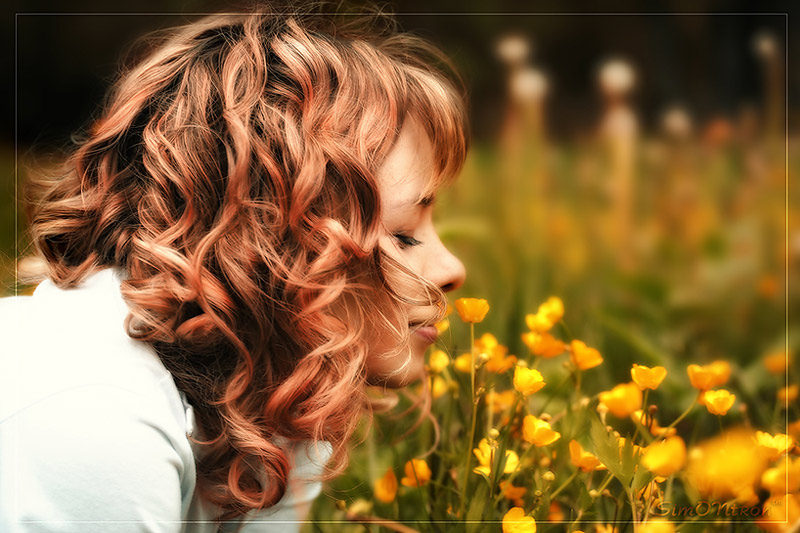 The smell of flowers | curls, nature, woman, flower