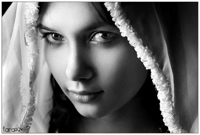 Water   woman, black and white, scarf