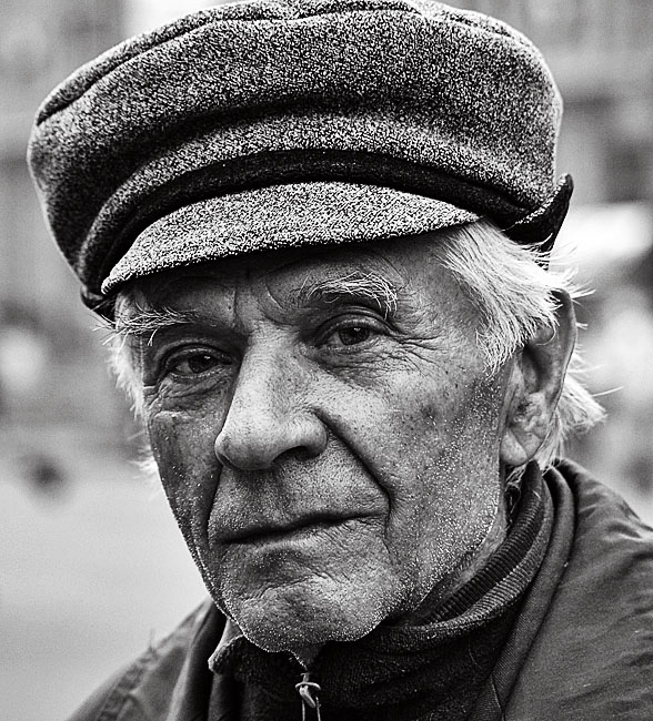 Suspicious old man black and white male hat