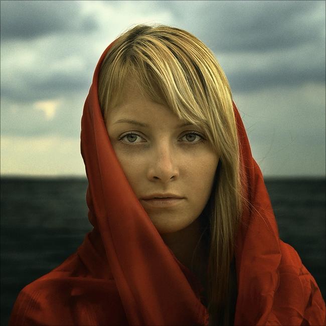 Prairie   woman, nature, blonde, scarf