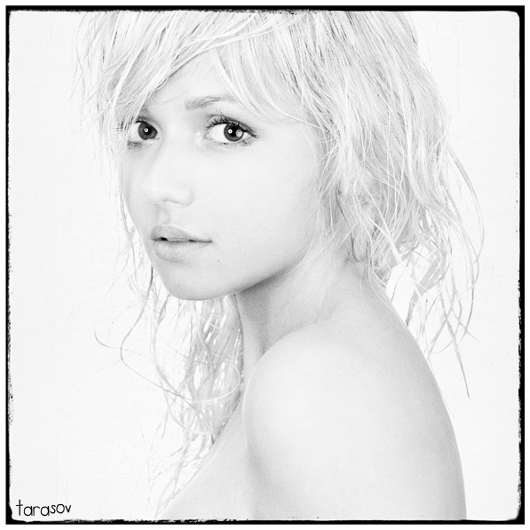 Iren | woman, black and white, blonde, high key