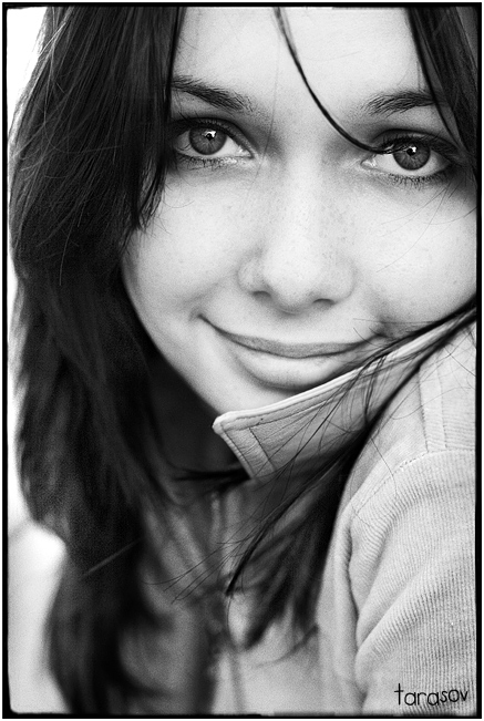 Because of the smile...   woman, black and white, brunette