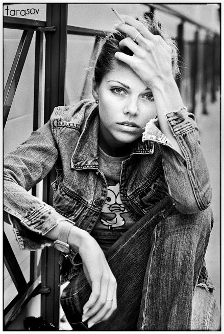 Necessity | woman, black and white, nature, cigarette