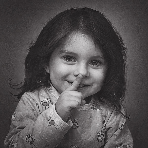 Shhhh... | black and white, brunette, hand, child