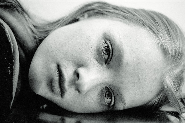 If only | woman, black and white, freckles