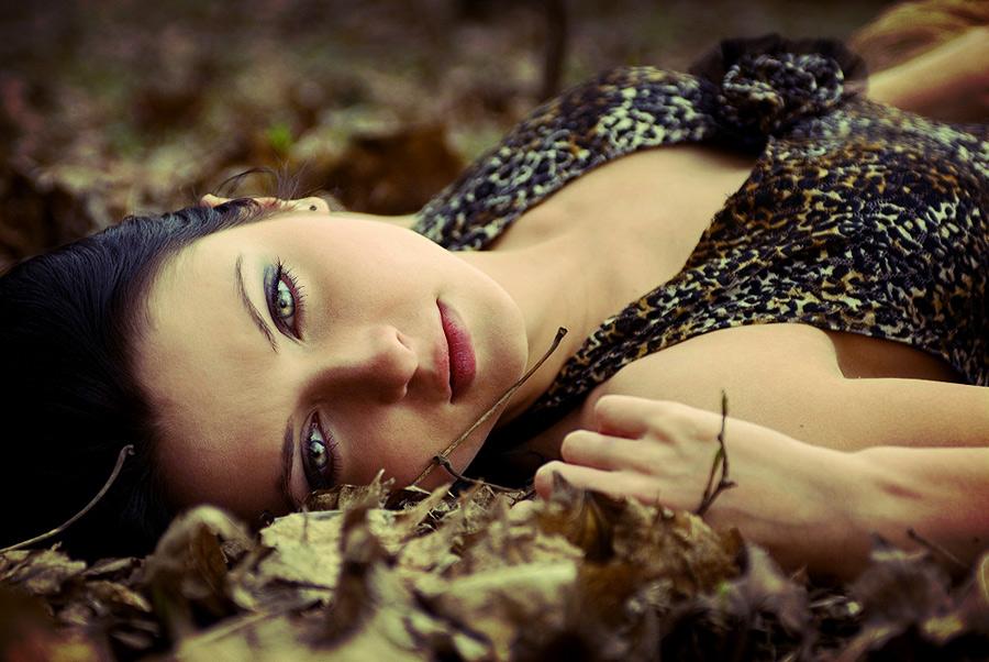 Feral   woman, brunette, nature