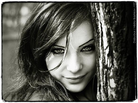 Yulia | woman, black and white, nature