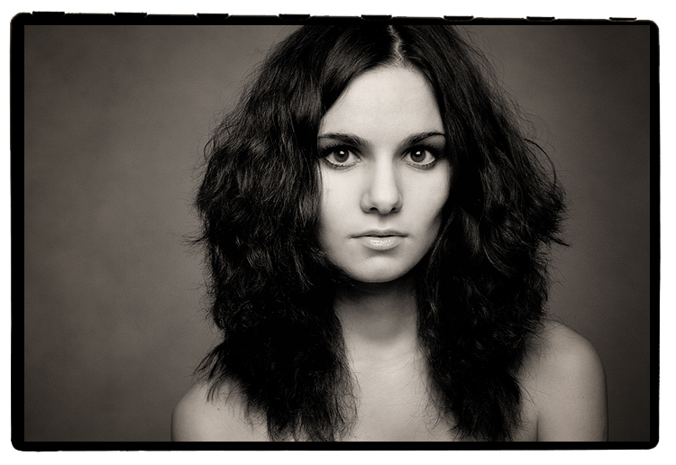 Portrait of Irina   woman, black and white, curls