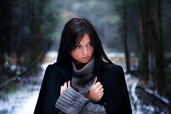 First Snow | nature, brunette, woman, snow