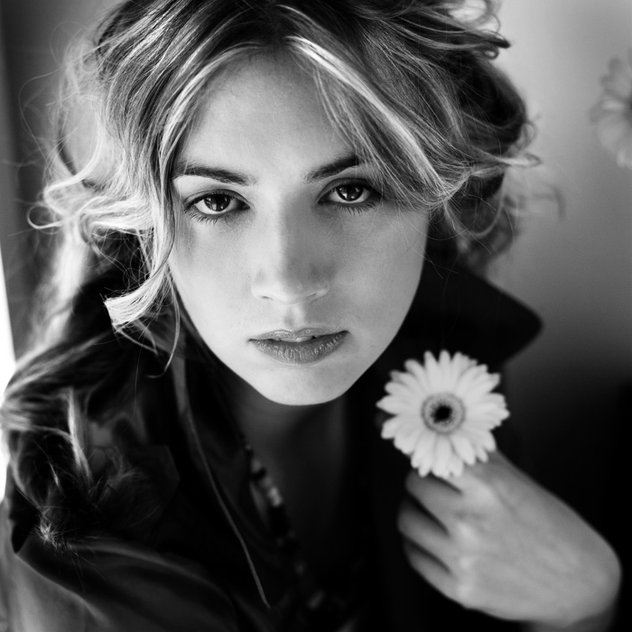 Kate | woman, black and white, flower