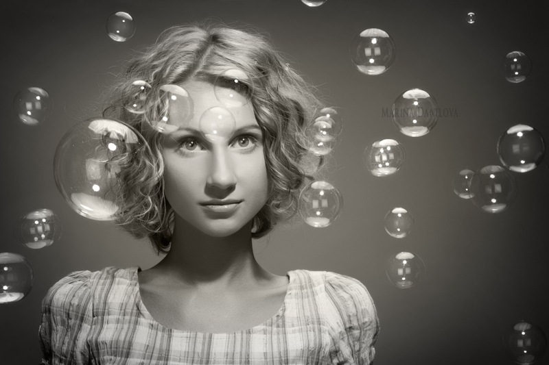 How do you think happiness looks? | black and white, woman, blonde, curls