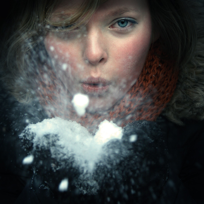 Snowy | scarf, emotion, woman, snow