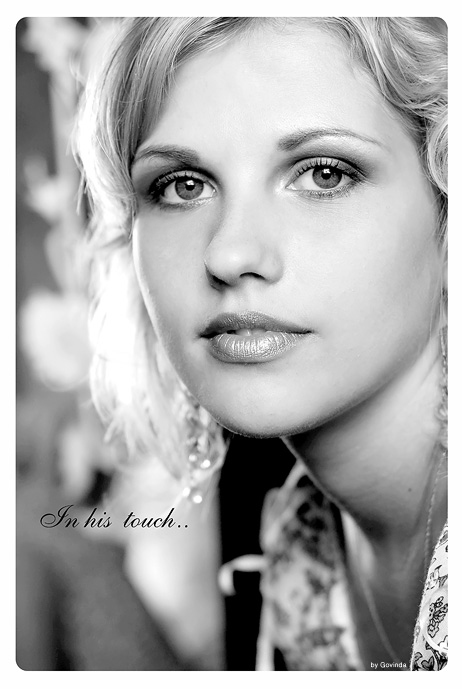 In his touch... | black and white, woman, blonde, curls, high key