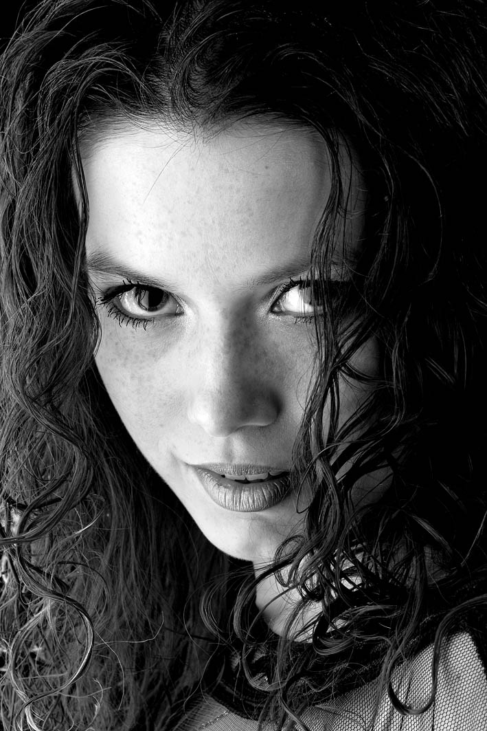 Cunning stare | woman, black and white, curls, freckles