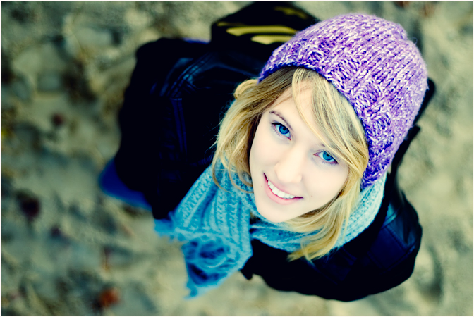 Walk | woman, blonde, scarf, hat