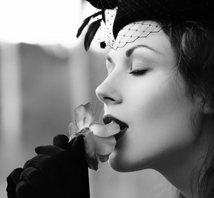 Stranger | woman, black and white, flower, veil, gloves