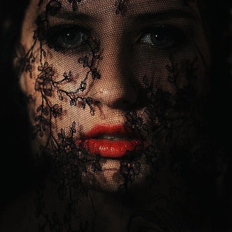 Under veil  | lips, cropping, close-up, veil