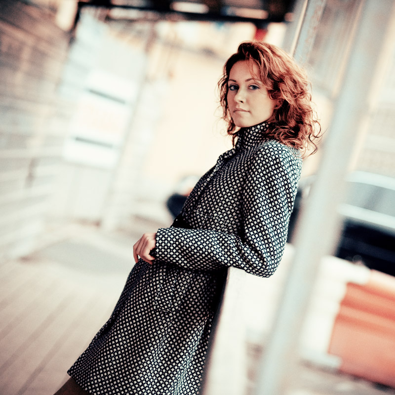 trench coat  | half-turn, bokeh, blur, redhead