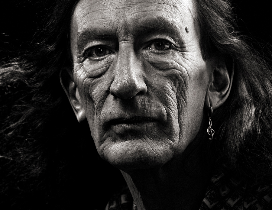Ken Hensley part 2 | earring , cropping, male, black and white