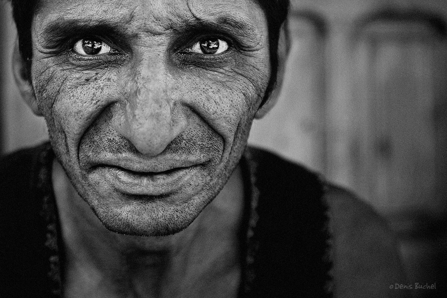 Portrait of a gypsy   male, low key, black and white