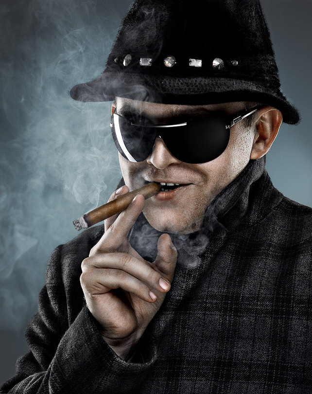 Sly | male, glasses, hat, cigar, smoke