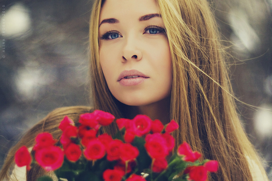 Flowers | blonde, long hair, flower