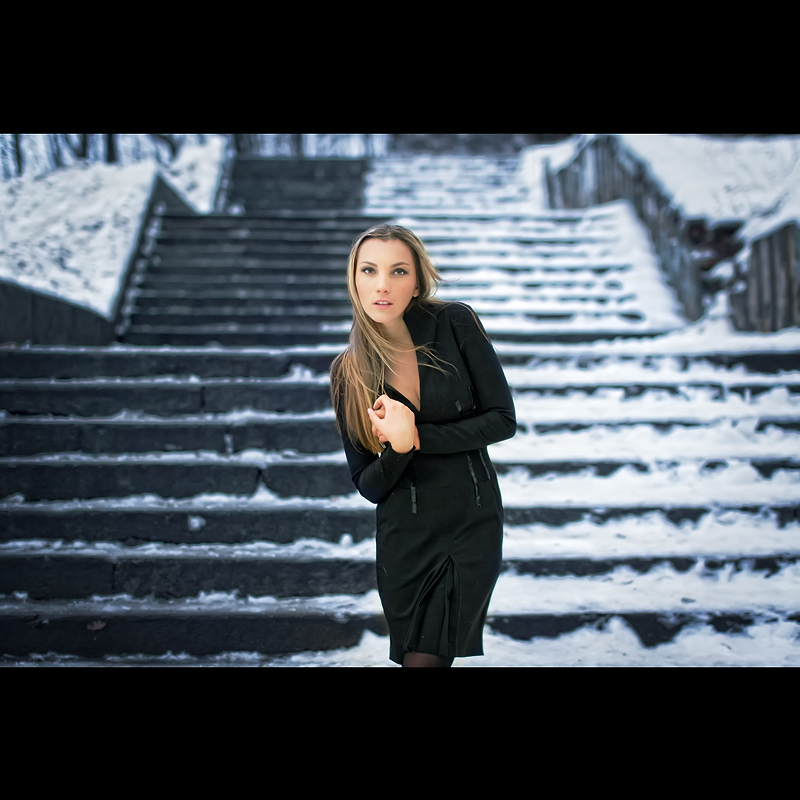 On the stair | blonde, nature, snow