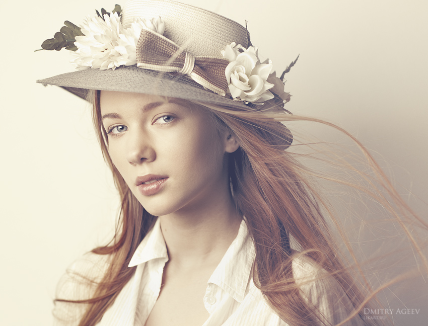 Spring breeze | long hair, redhead, hat