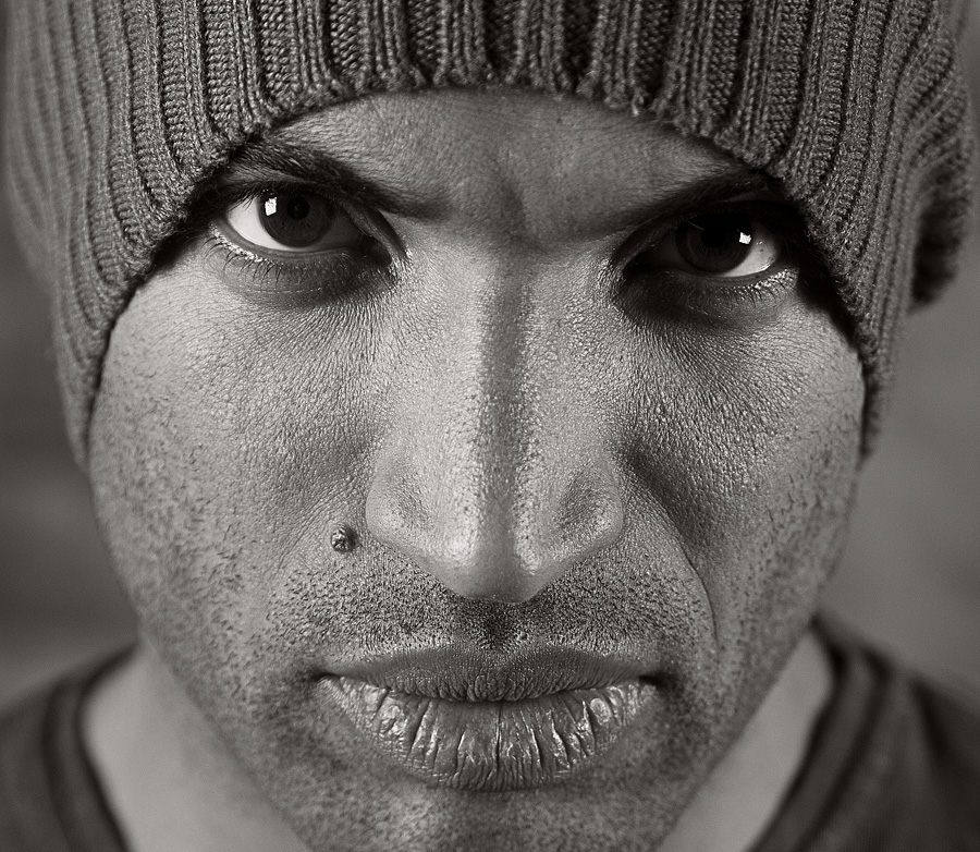 Man's face | stare, close-up, male, black and white, hat