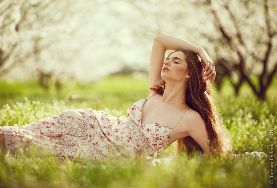 Spring is here | long hair, nature, dress , lie