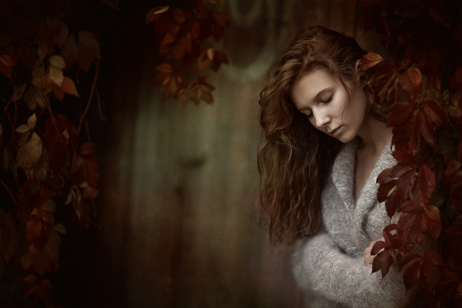 Listening to fall | long hair, woman, nature