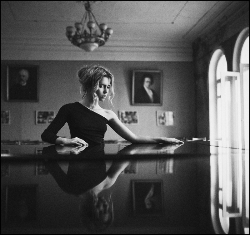 Charm | blonde, reflection, dress, shoulder, black and white