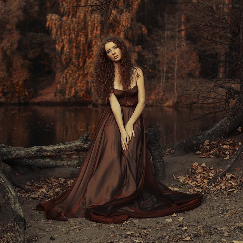 Autumn flowering | long hair, curls, dress, shoulder, nature, sepia