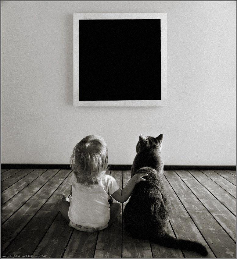 Magic of The Black Quadrate  | child, hand, black and white, cat