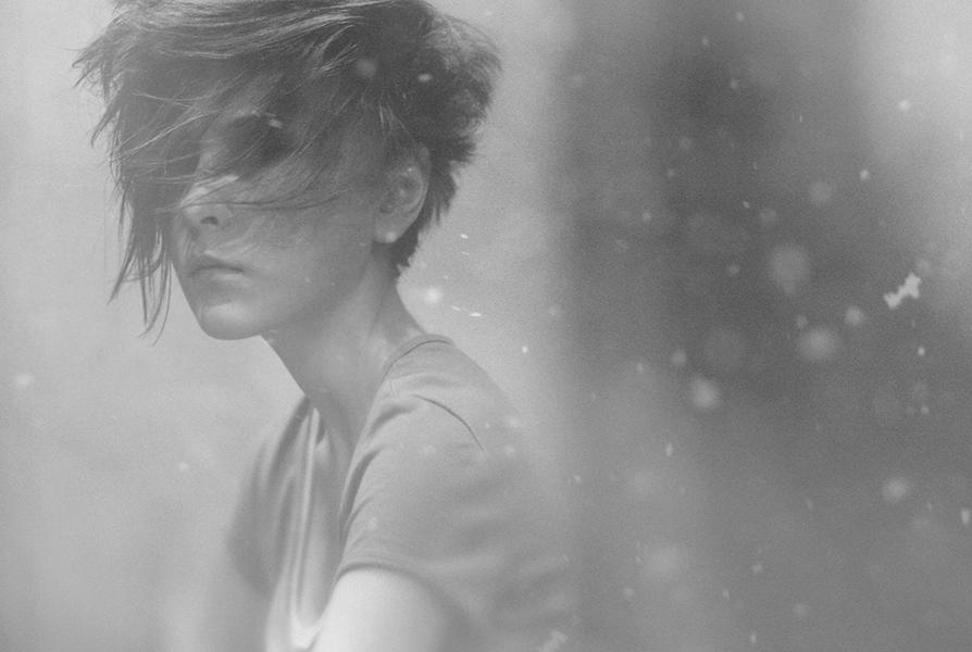 Only depression | cropping, shoulder, half-turn, hairstyle, black and white