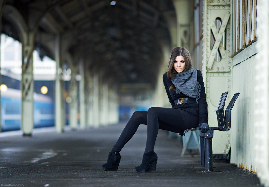 At Railway Station | stare, long hair, scarf, legs