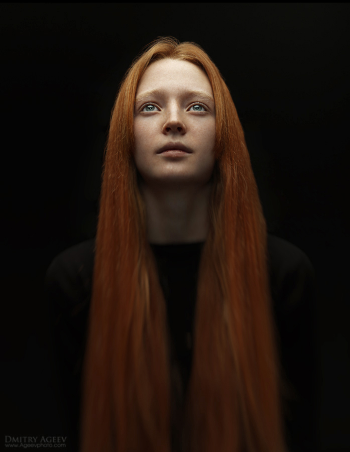 Divine shine | stare, long hair, low key, redhead, sepia