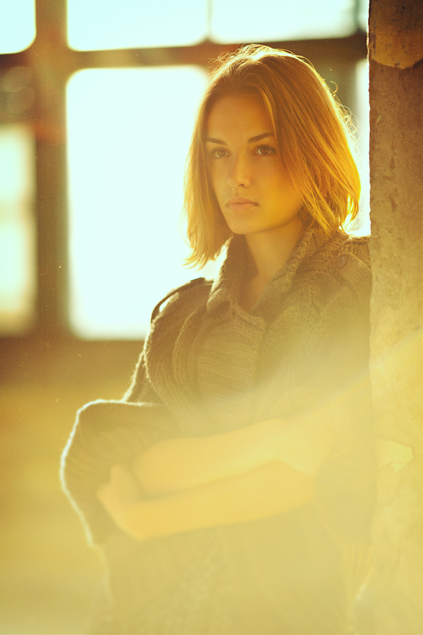 Lens flares | lens flare, blonde girl, warehouse, summer