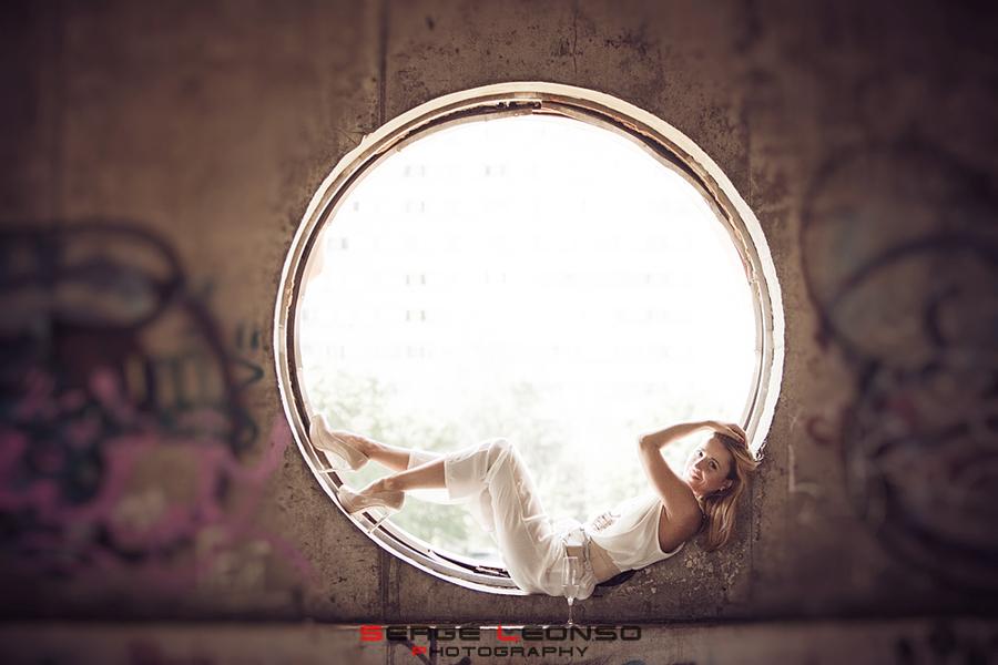 Girl in circle   girl , white dress, circle, graffiti