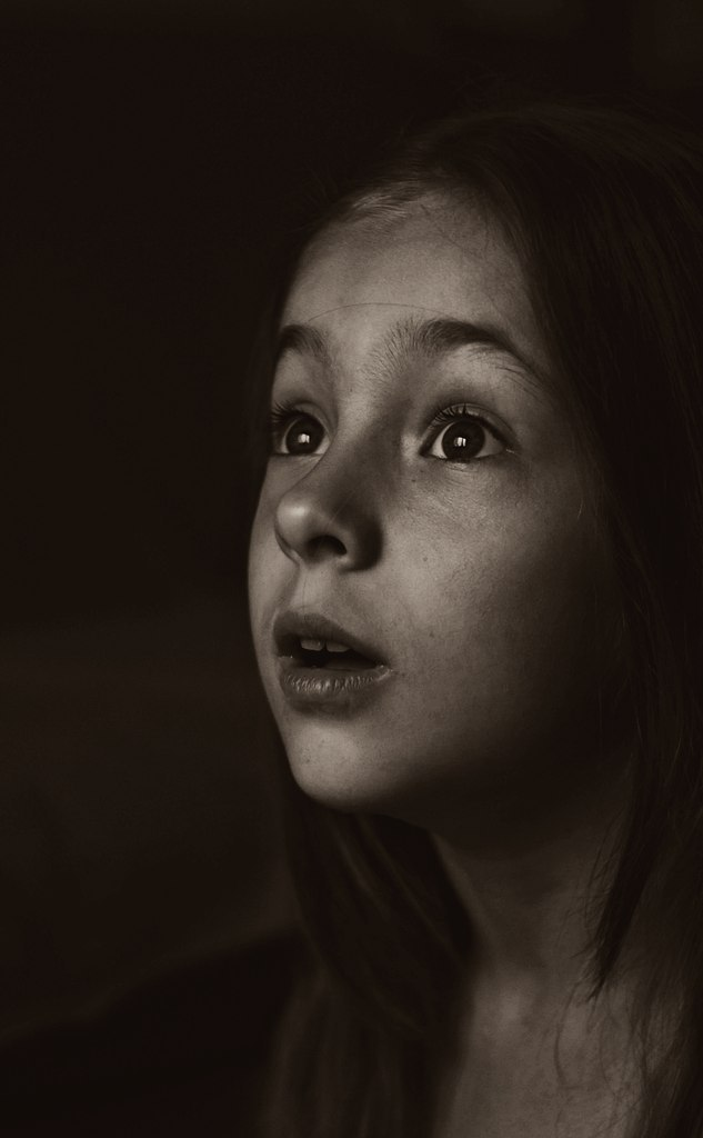 Wondering child | child, black & white, big eyes