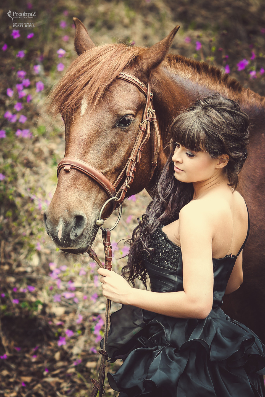 Girl with a horse   girl, horse, black dress, garden